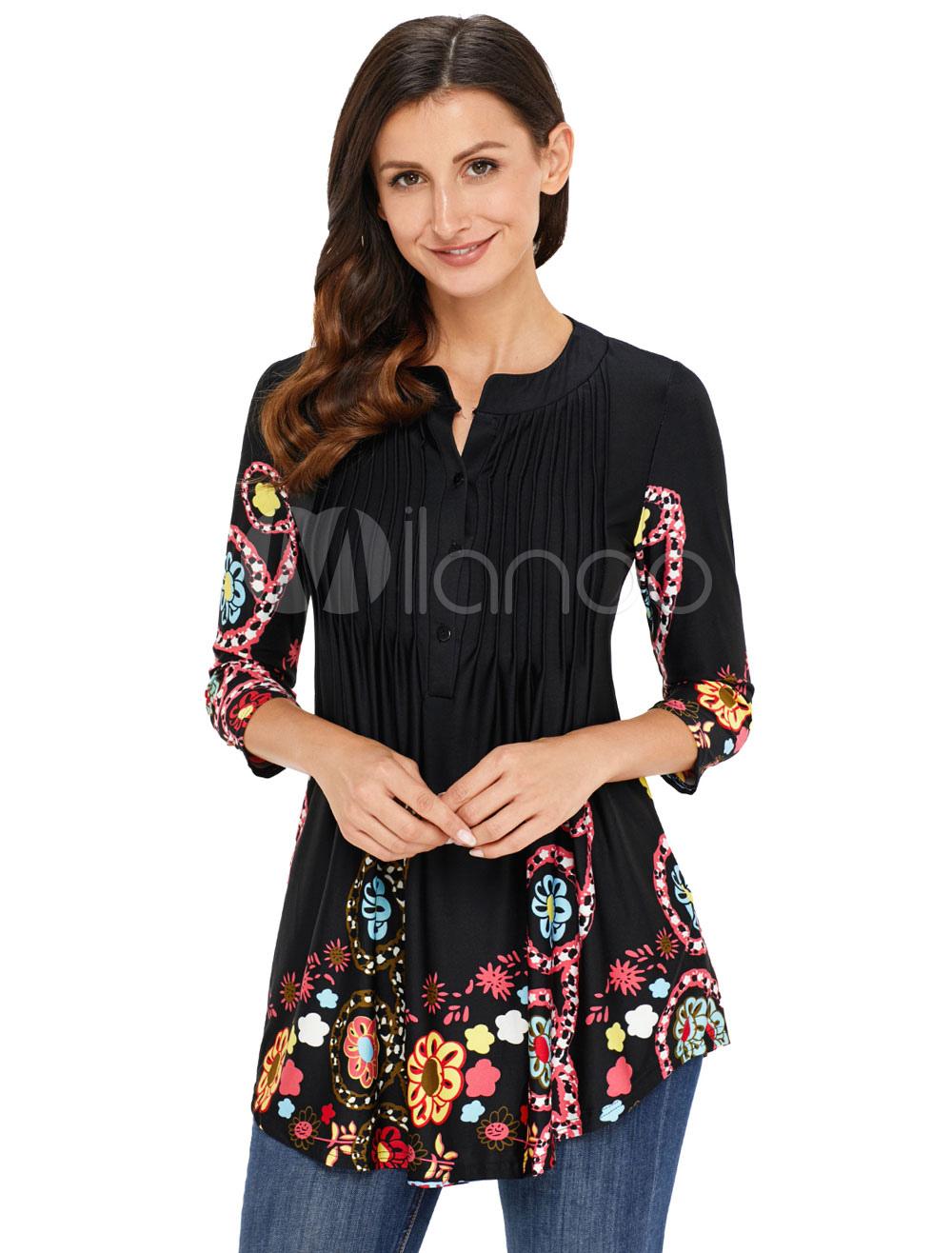7abb55088d2fa Blusa estampada con cuello redondo de manga larga y blusas negras para  mujer-No.