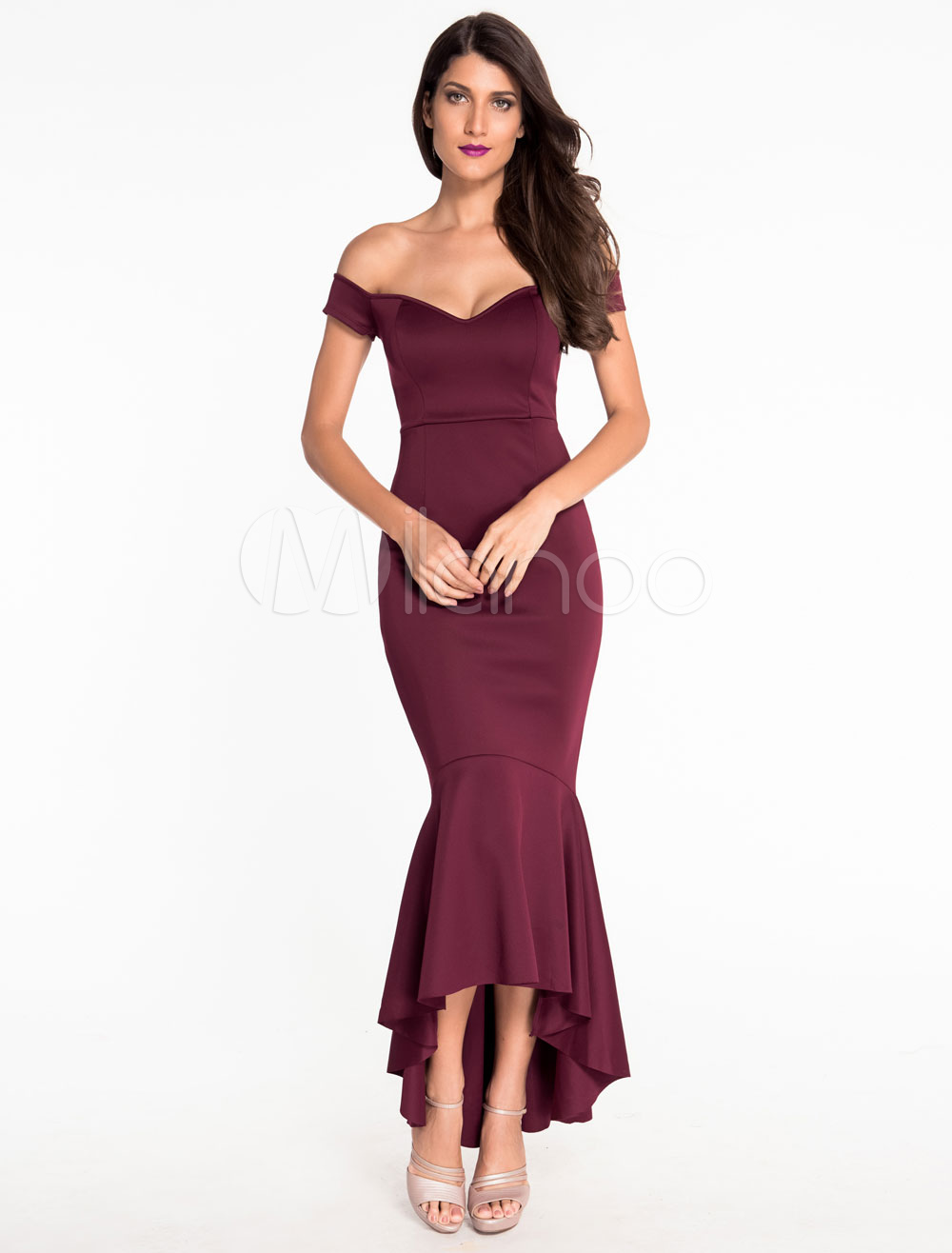 Buy Women Bodycon Dress Off The Shoulder Ruffles Short Sleeve High Low Sexy Mermaid Burgundy Maxi Dresses for $23.74 in Milanoo store