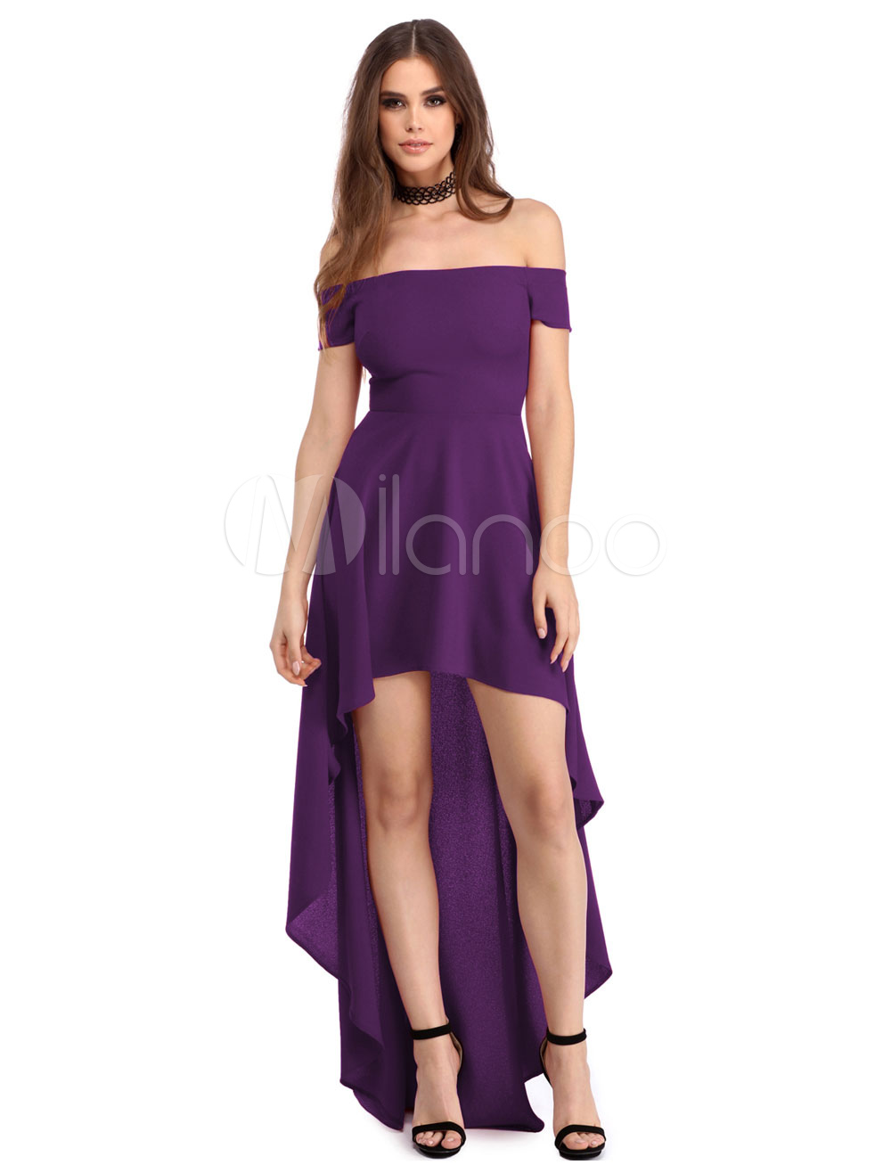 Buy Women Formal Dress Off The Shoulder Short Sleeve Sexy High Low Purple Skater Dresses for $18.99 in Milanoo store