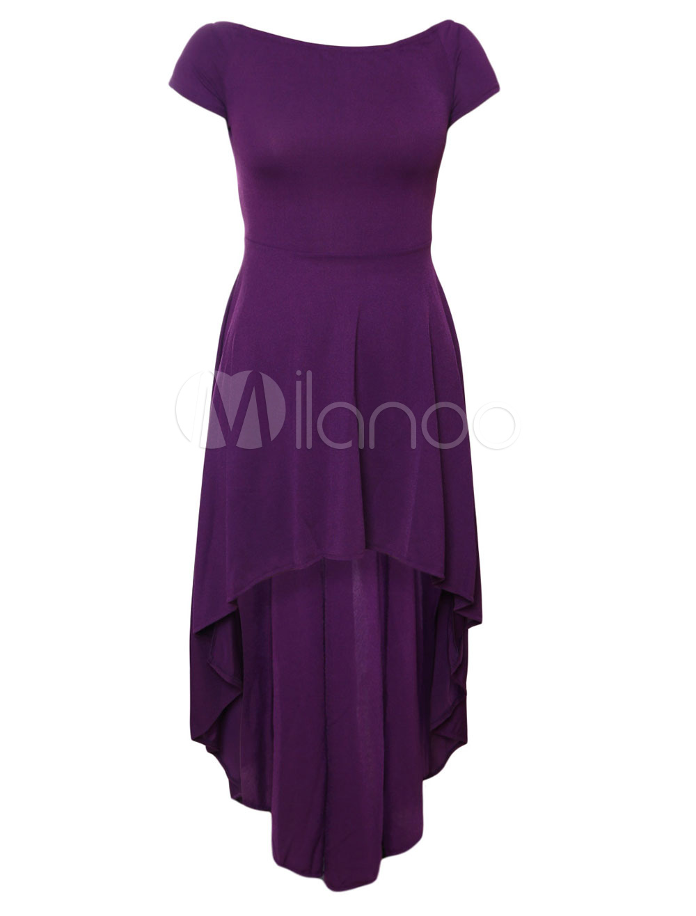 ... Women Formal Dress Off The Shoulder Short Sleeve Sexy High Low Purple Skater  Dresses-No ... b840362d1