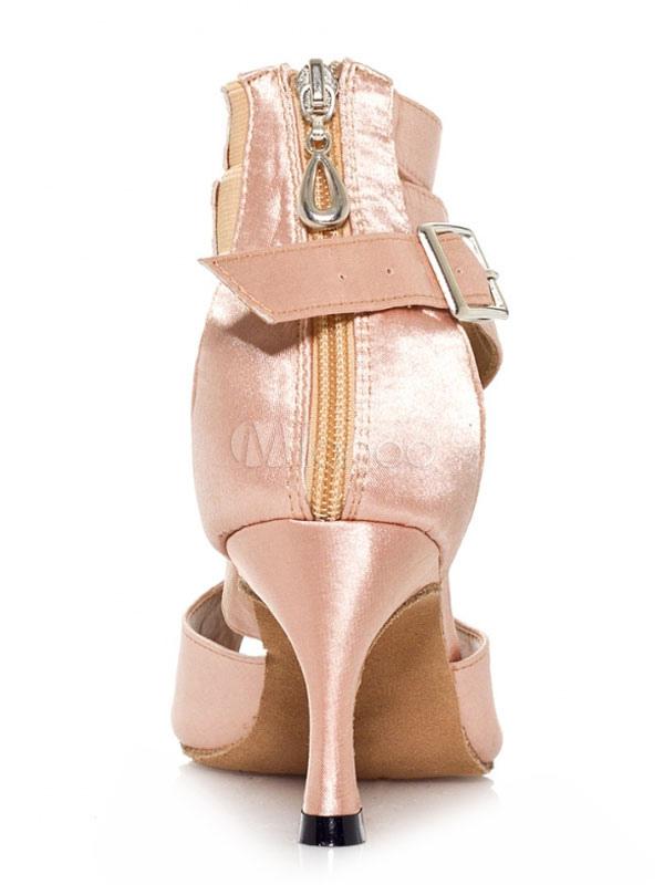 Zapatos de baile de salón Zapatos de baile para mujer Correa de tobillo de color salmón satinado Zapatos de baile latino aTzFrF4lo