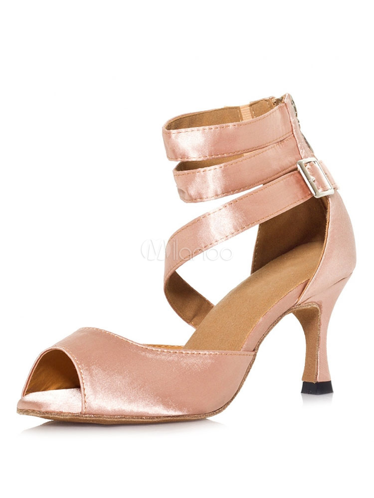 Ballroom Dance Shoes Women Dance Shoes Satin Salmon Ankle Strap Latin Dancing Shoes