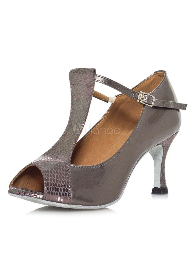 Zapatos de bailes latinos de punter Peep Toe de tacón de stiletto de PU para baile cU4ggmY5