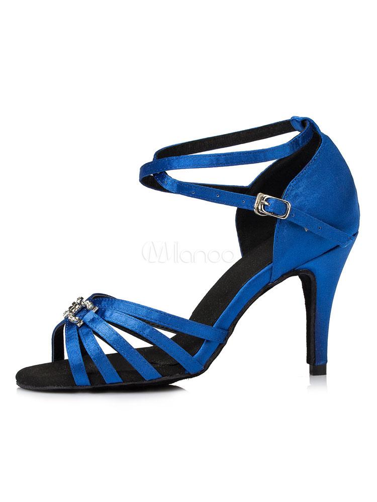 Zapatos de bailes latinos de puntera abierta de tacón de stiletto de satén con pedrería para baile BLgLyw2DK