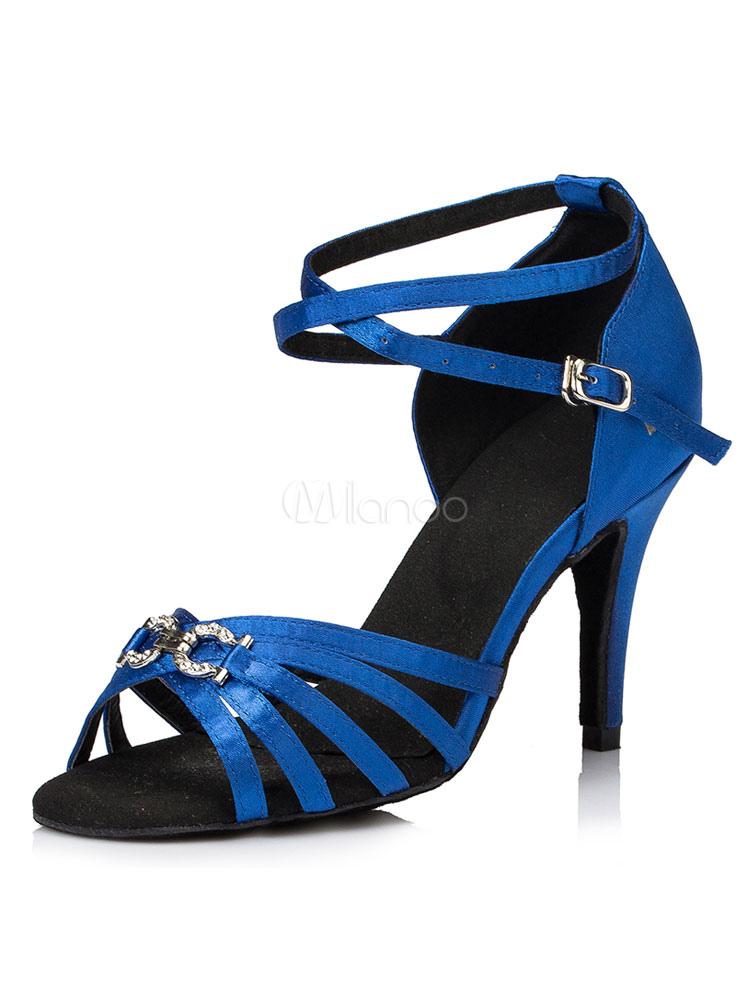 Zapatos de bailes latinos de puntera abierta de tacón de stiletto de satén con pedrería para baile KcnsHhA
