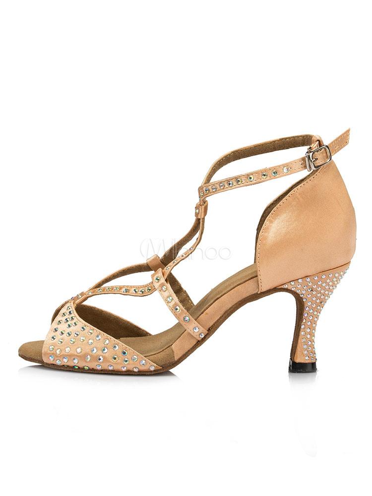 Zapatos de bailes latinos de satén con pedrería Tacón bobina para baile de punter Peep Toe la9MaYqN