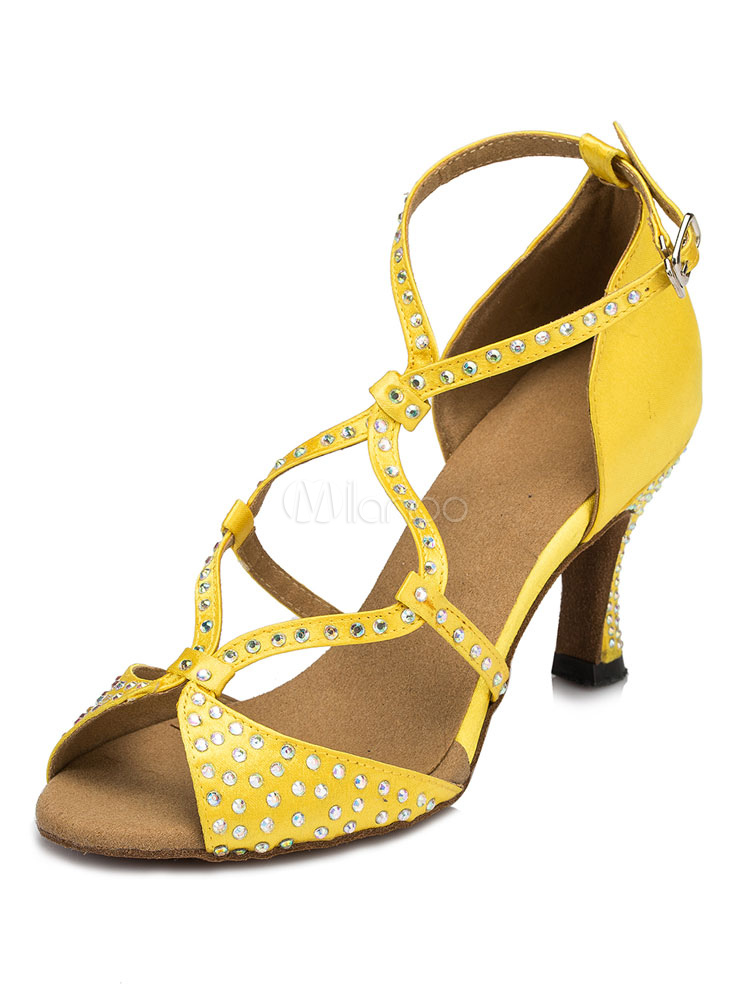 Zapatos de bailes latinos de satén con pedrería Tacón bobina para baile de punter Peep Toe KSp7Z62f