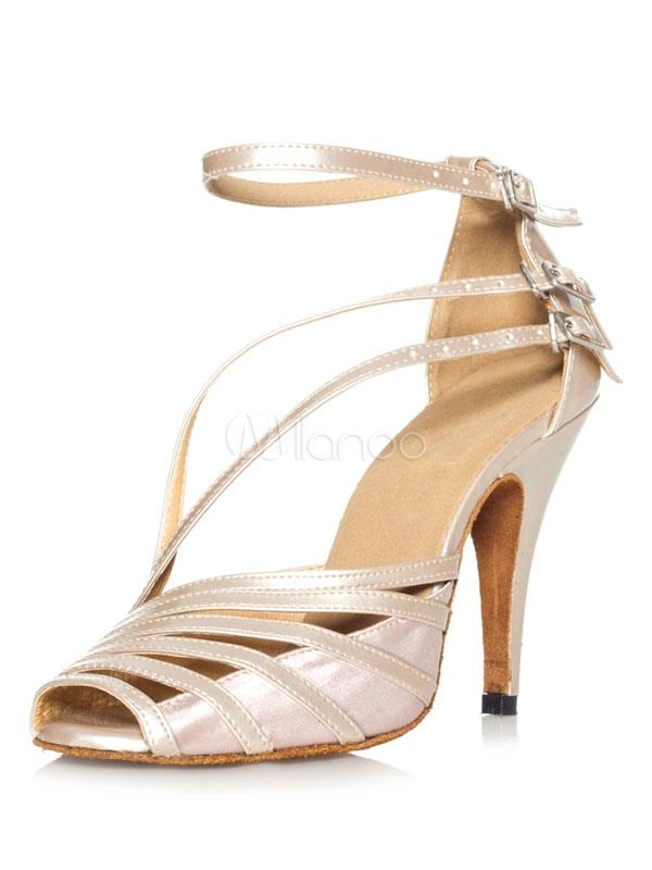Zapatos de baile de salón Peep Toe Strappy Latin Dancing Shoes 0TqkoiKdw