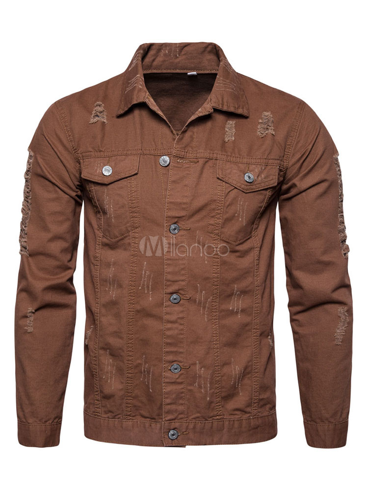Buy Brown Casual Jacket Long Sleeve Turndown Collar Regular Fit Ripped Men's Jackets for $32.29 in Milanoo store