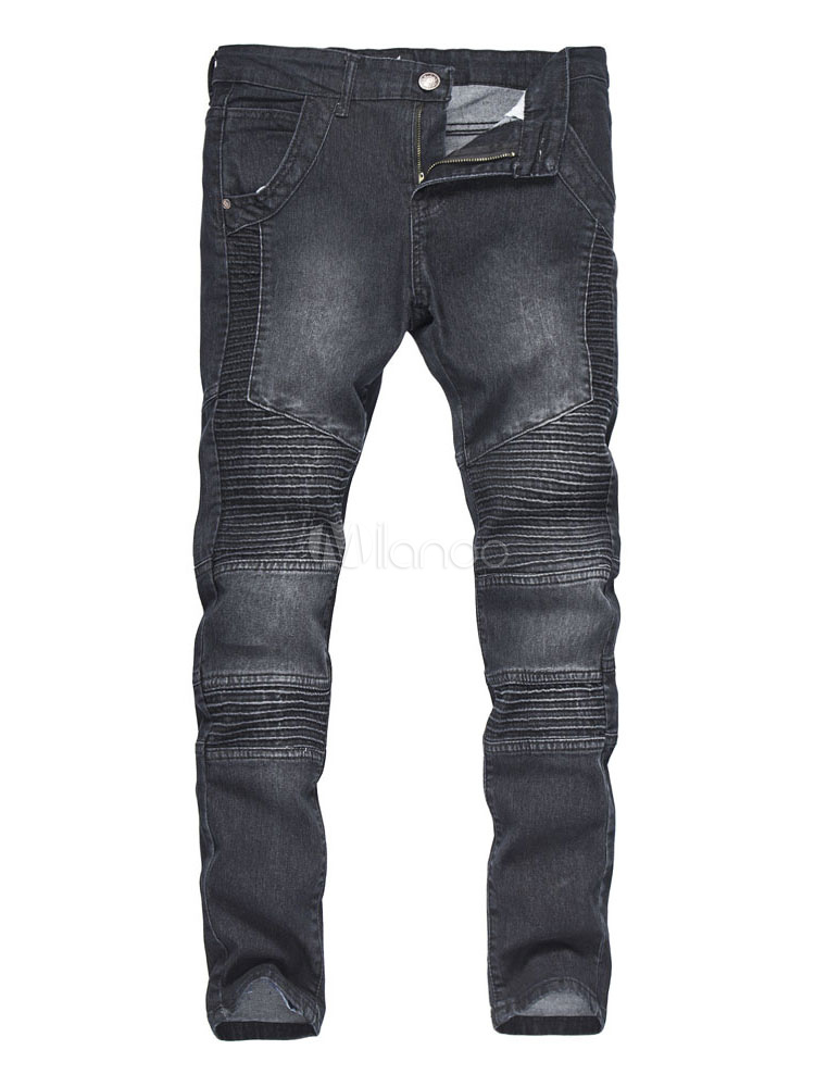 Men Denim Jeans Light Blue Washed Long Straight Ripped Jean