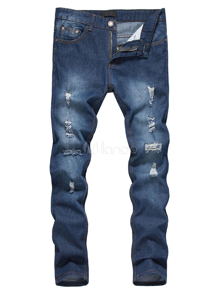 Buy Blue Denim Jeans Long Straight Distressed Jeans For Men for $23.74 in Milanoo store