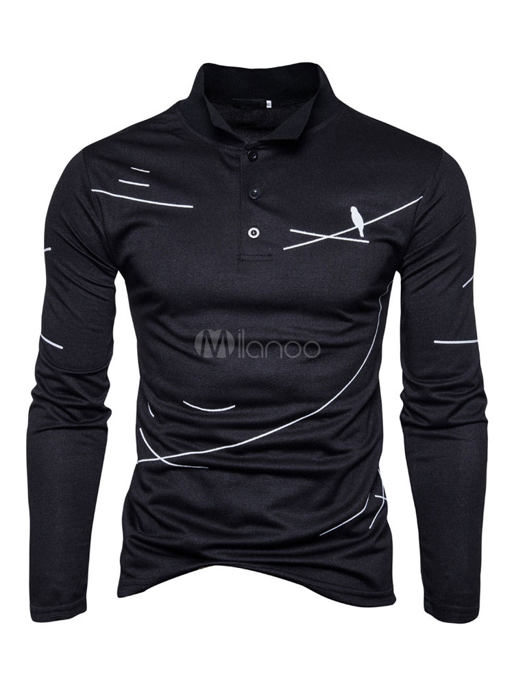 Black Polo Shirt Stand Collar Long Sleeve Birds Printed Regular Fit Top For Men