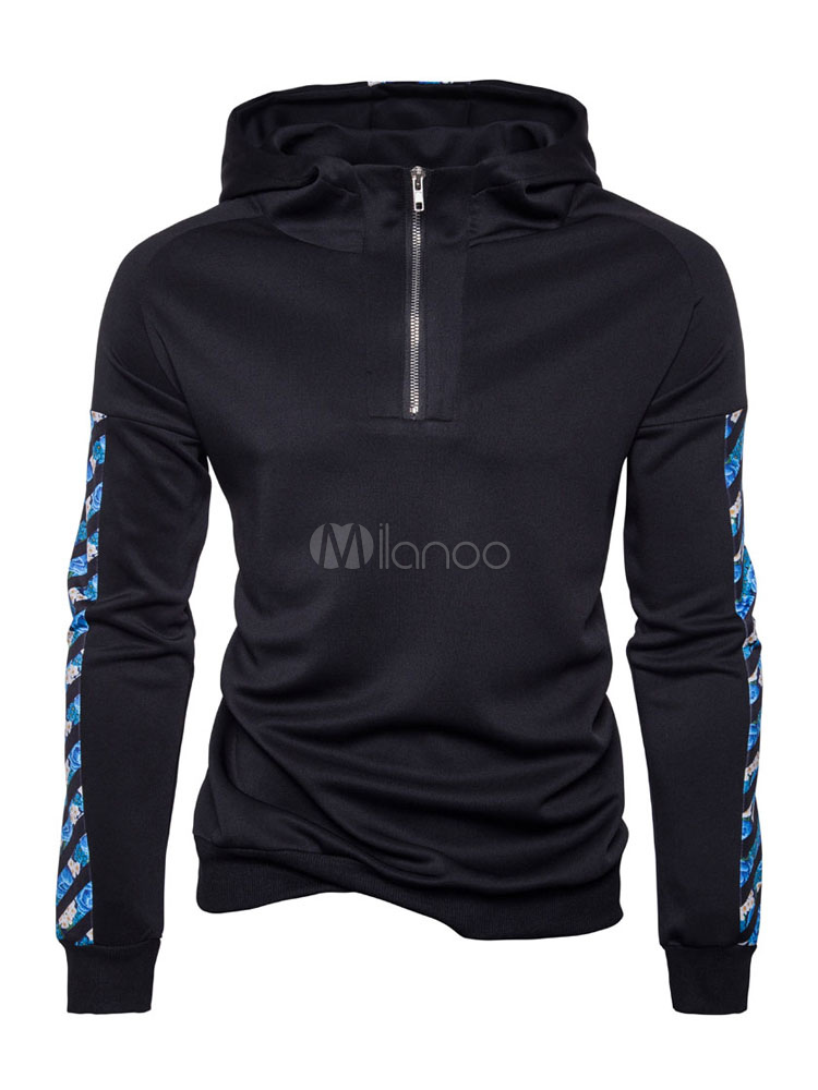 Buy Black Pullover Hoodie Hooded Long Sleeve Printed Regular Fit Sweatshirt For Men for $28.49 in Milanoo store