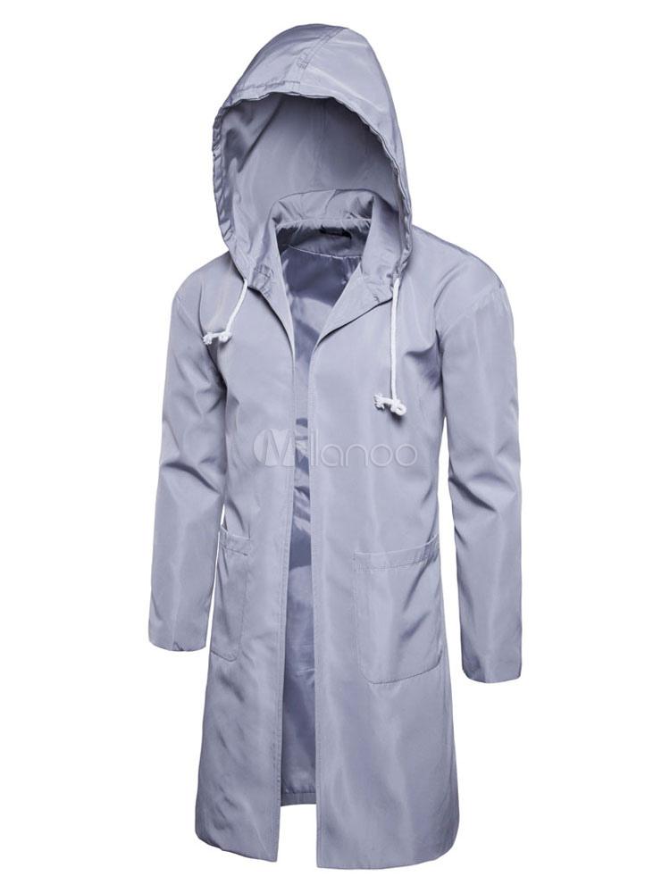 Men's Trench Coat Hooded Long Sleeve Light Grey Windbreaker