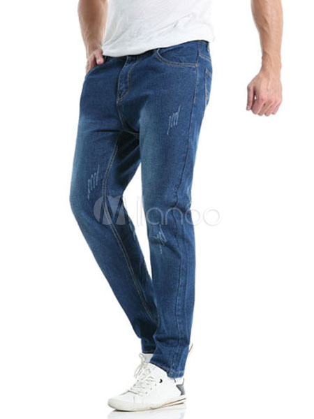 Buy Denim Blue Jeans Long Straight Comfy Jeans For Men for $28.04 in Milanoo store