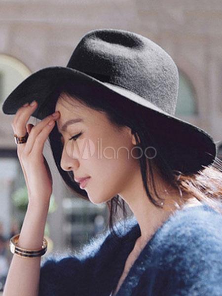Black Floppy Hat Women's Winter Wool Hats
