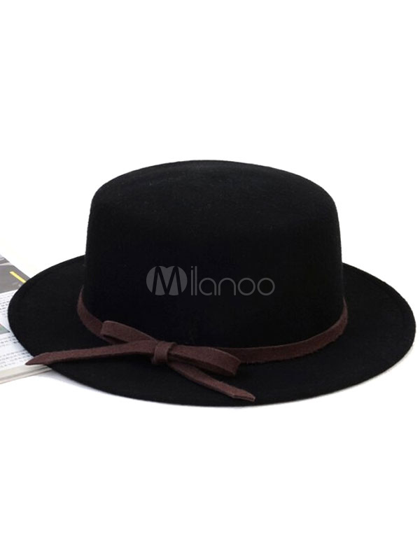 Burgundy Derby Hat Bows Winter Wool Hats For Women - Milanoo.com ef1eb0a27d2