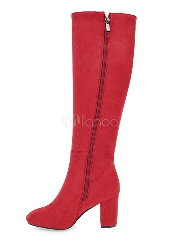Botas a la rodilla con pala de gamuza Color liso con pedrería estilo informal tl29eZd12T