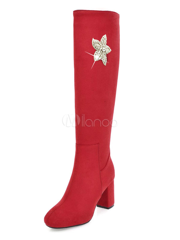Women Thigh High Boots Suede Rhinestones Flowers Round Toe Chunky Heel Red Over Knee Boots