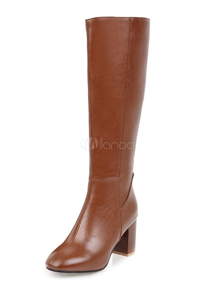Buy Women Winter Boots PU Upper Zipper Chunky Heel Round Toe Brown Knee High Boots for $47.69 in Milanoo store