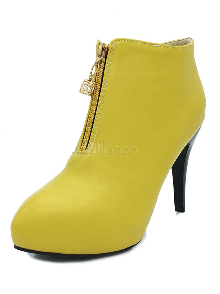 Buy Women Ankle Boots PU Upper Zipper Pointed Toe Stiletto High Heel Yellow Women Winter Booties for $37.99 in Milanoo store
