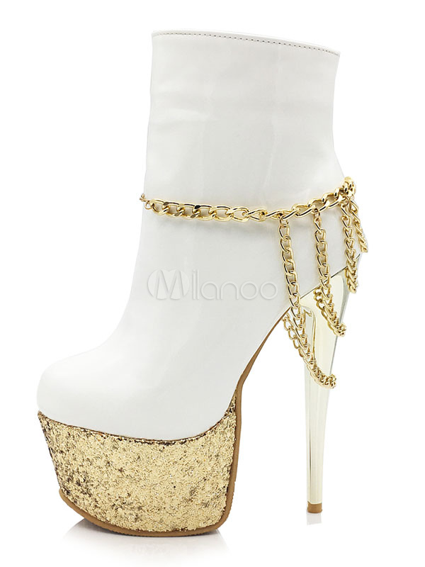 Buy Women Patent Leather Boots Plus Size Round Toe Chains Stiletto White Platform High Heel Booties for $59.99 in Milanoo store