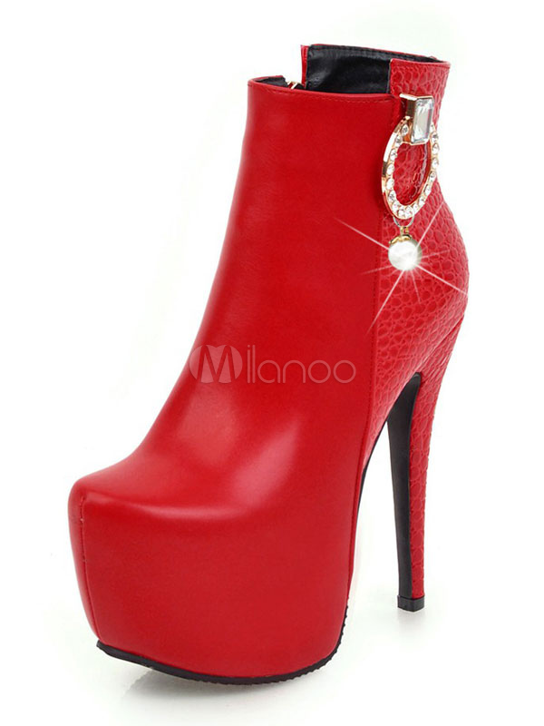 Buy Women Ankle Boots Snakeskin PU Upper Zipper Pearls Stiletto High Heel Red Boots For Women for $56.99 in Milanoo store