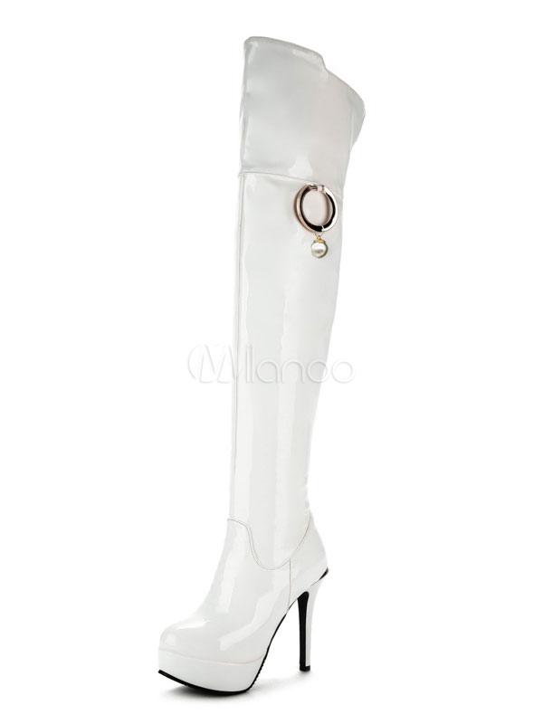 Muslo Botas altas patente PU cremallera superior detalles de metal plataforma de tacón alto botas rojas para las mujeres mrdTIF