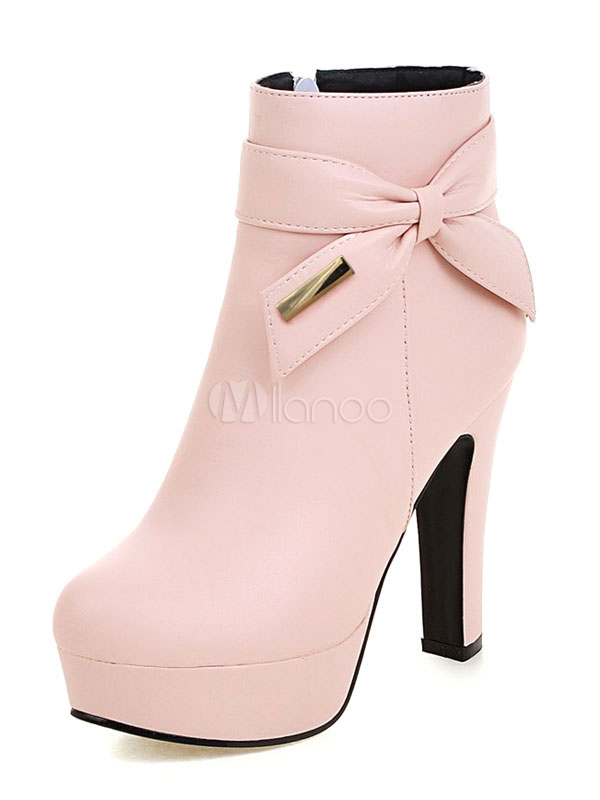Pink Ankle Boots Chunky Heel Round Toe Bows PU Winter Booties For Women