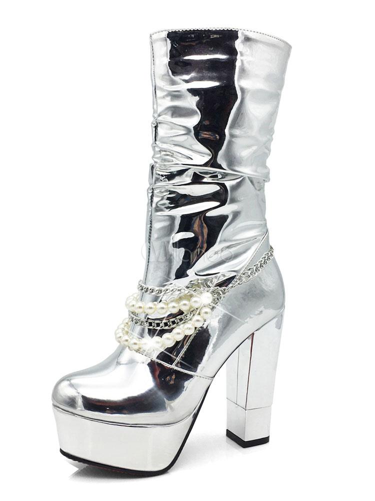 new concept 312f8 88167 Attraktive Plateau-Stiefel mit Perlen und Blockabsatz in Silbern