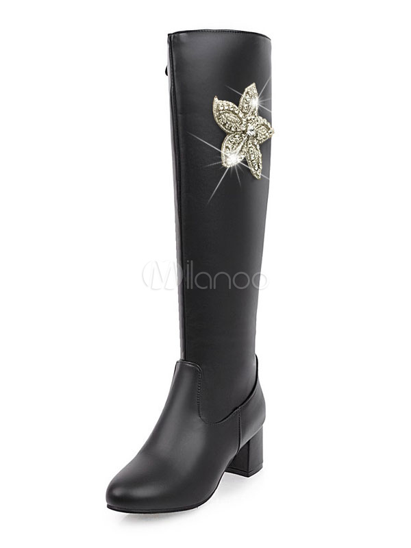 Buy Winter Women Boots PU Upper Floral Rhinestones Round Toe Chunky Heel Knee High Boots for $40.49 in Milanoo store