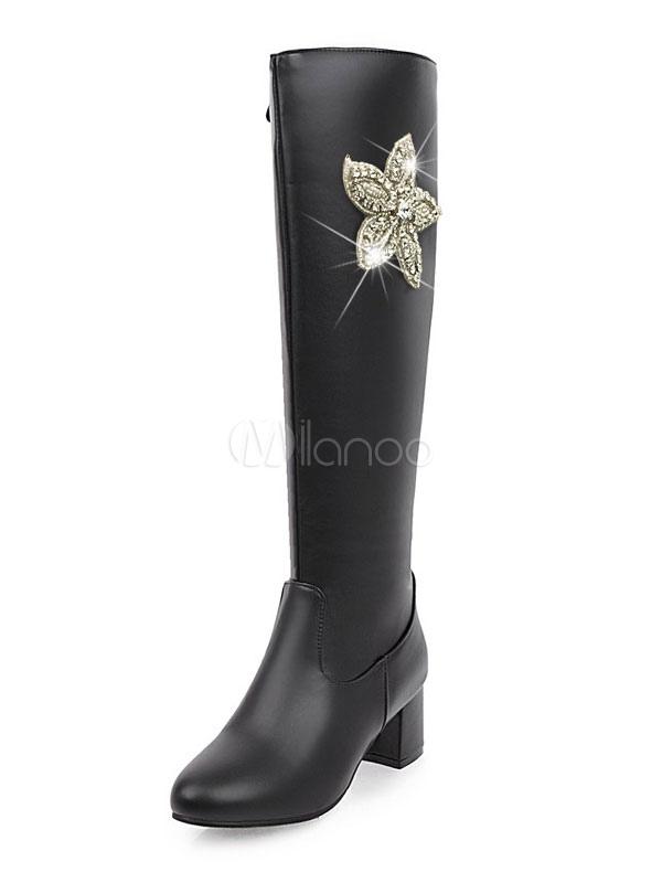 Winter Women Boots PU Upper Floral Rhinestones Round Toe Chunky Heel Knee High Boots