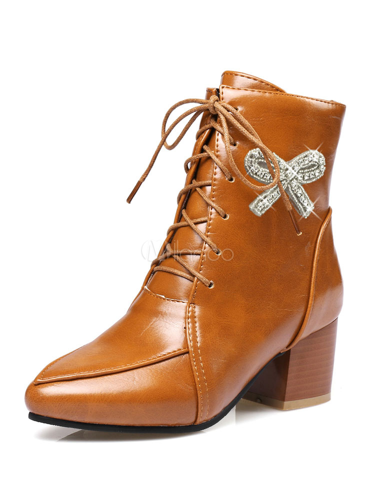 886595e06f3 Women Ankle Boots Pointed Toe Chunky Heel Lace Up Bows PU Brown Winter  Booties