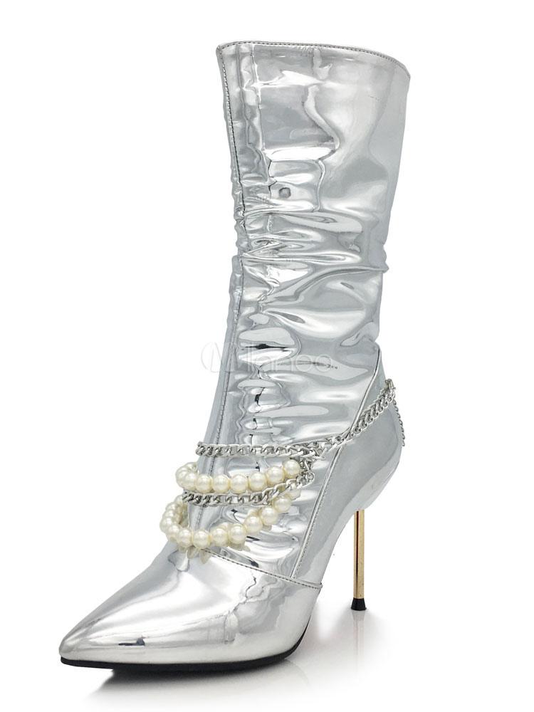 brand new decee 66380 Damen Silberne Stiefel Spitz Metallic Zipper Geraffte Perlen Ketten  Stiletto High Heel Mittlere Wadenstiefel