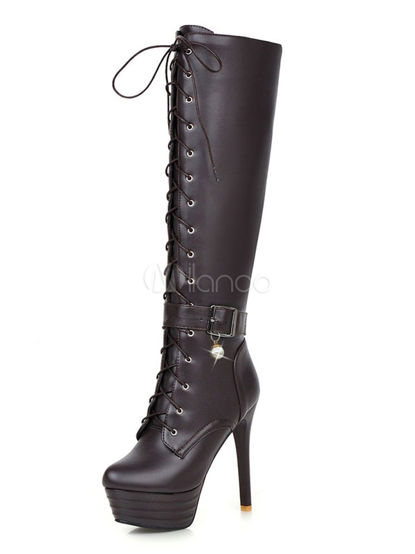 Buy Women Winter Boots Lace Up Zipper Buckle Stiletto Pearls Brown High Heel Platform Knee High Boots for $49.99 in Milanoo store