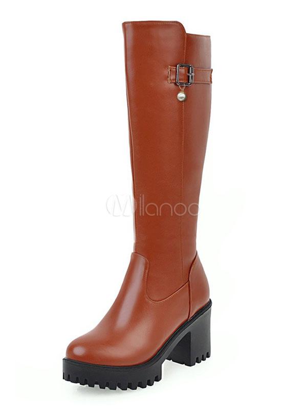 Women Western Boots Plus Size PU Upper Zipper Round Toe Chunky Heel Brown Knee High Boots