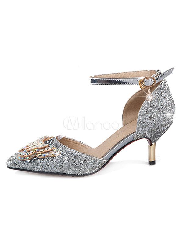 Zapatos de noche de plata del dedo del pie acentuado lentejuelas mariposa gatito del talón del partido de los talones para las mujeres kNwYB
