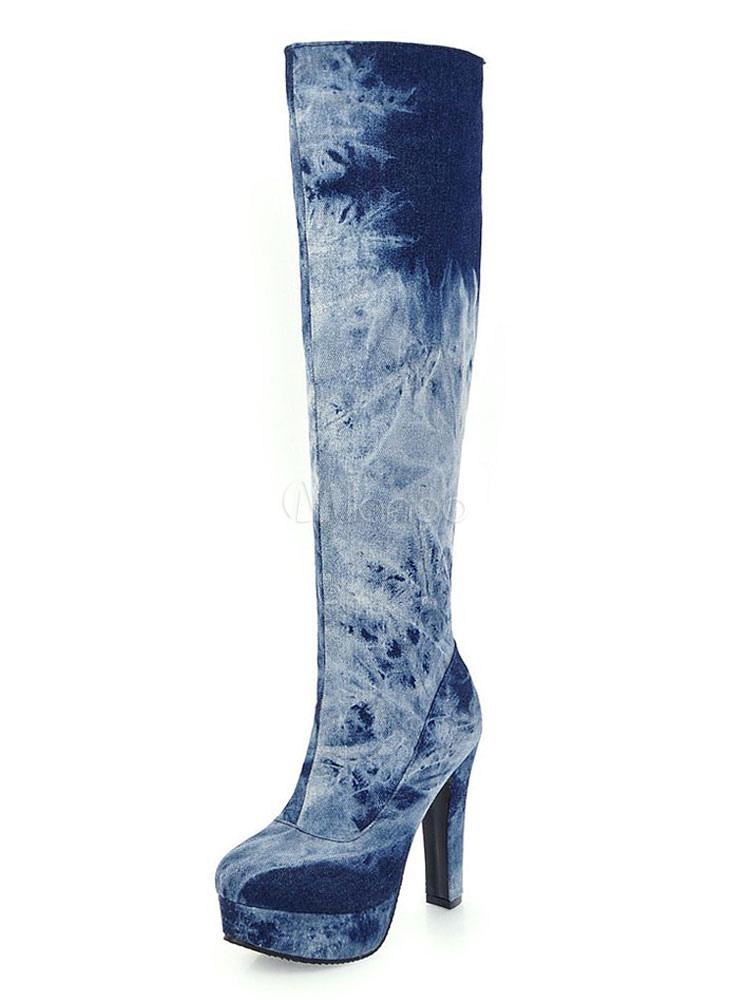 Women Knee High Boots High Heel Boots Deep Blue Round Toe Spring Boots