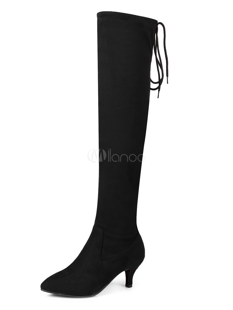 Over Knee Boots Black Pointed Toe Winter Boots Women Thigh High Boots