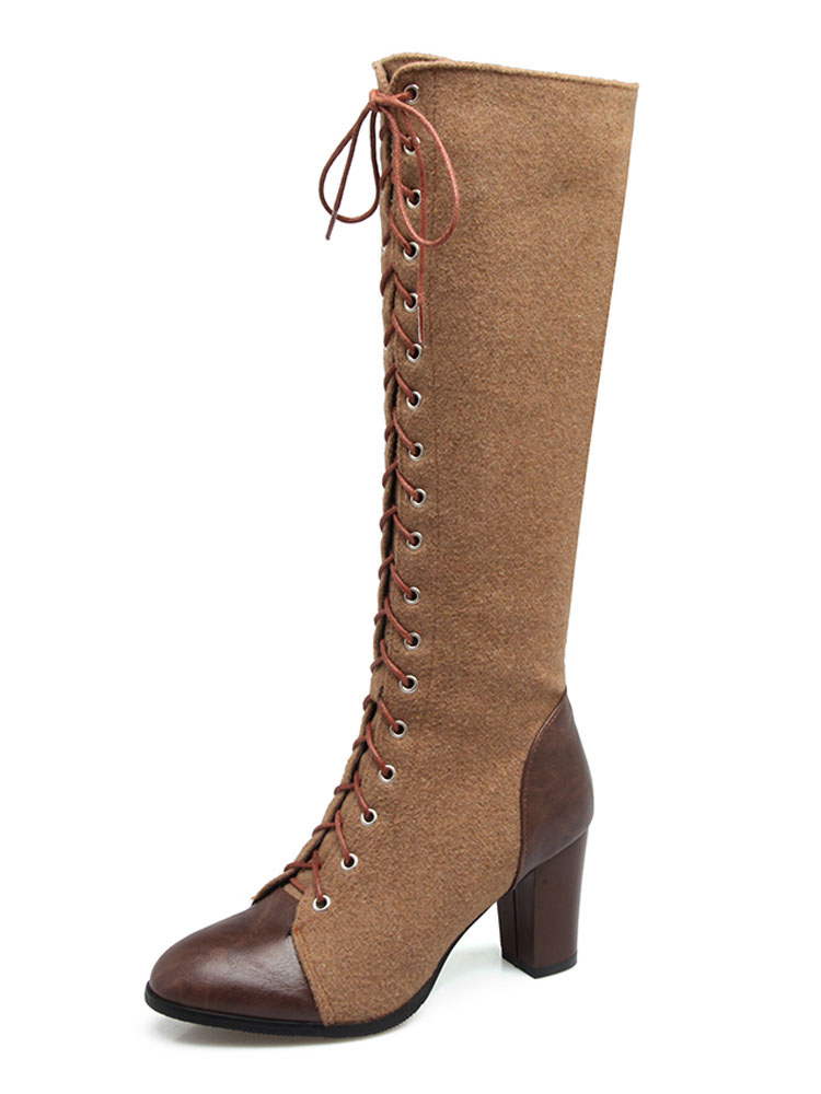Buy Women Knee Length Boot PU Upper Suede Lace Up Zipper Two Tone Chunky Heel Brown Boots For Women for $56.69 in Milanoo store