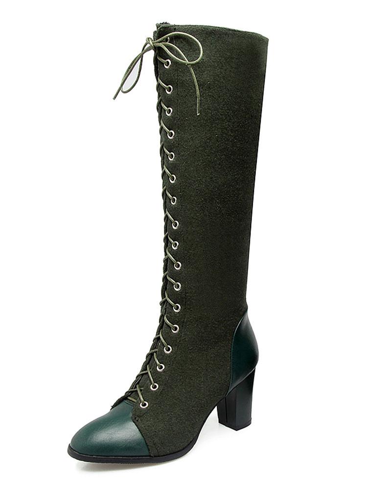 Botas hasta la rodilla de las mujeres PU de gamuza superior con cordones cremallera Botas marrón de dos tonos de tacón grueso para mujeres wa2eMy