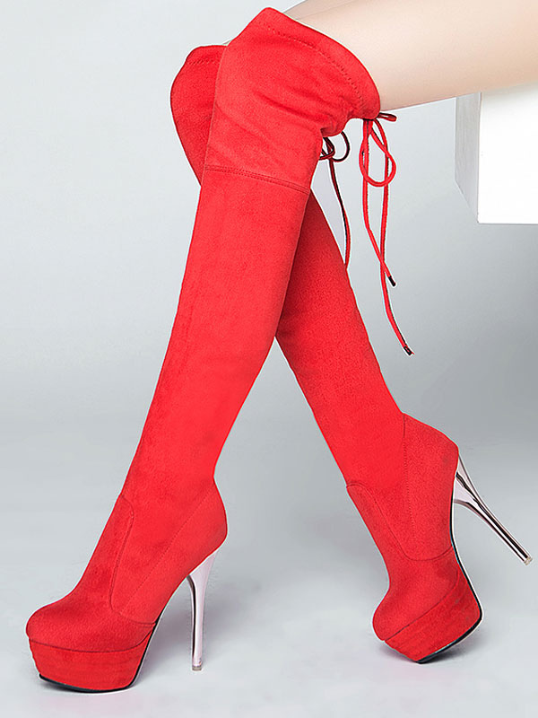 9e03f7bc4b9 Women Red Boot Lace Up Stiletto Platform High Heel Sexy Thigh High Boot