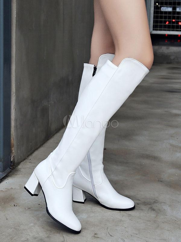 Mujeres hasta la rodilla Bota PU Cremallera superior Chunky Tacón Botas Casual Mujeres Blanco v7iqgOnyrT