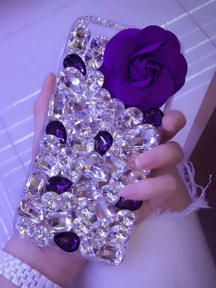 Buy Crystal Phone Cover 3D Flowers Plum Gems Beading Anti Slip Phone Case For IPhone 7 IPhone 8 IPhone X And Samsung S8 for $8.09 in Milanoo store