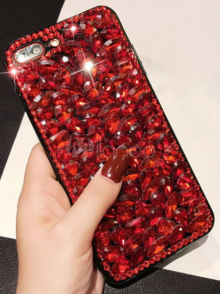 Buy Ruby Phone Case Gemstones Jeweled Beading Anti Slip Stylish Phone Cover For Iphone 6 Iphone 7 Iphone 8 And Samsung for $8.99 in Milanoo store
