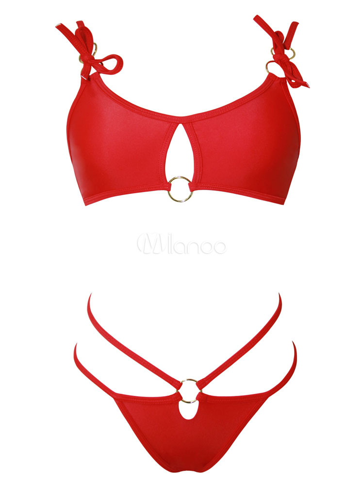 Buy Red Bikini Swimsuit Two Piece Bathing Suit Women Metal Ring Strappy Cut Out Swimwear for $18.99 in Milanoo store