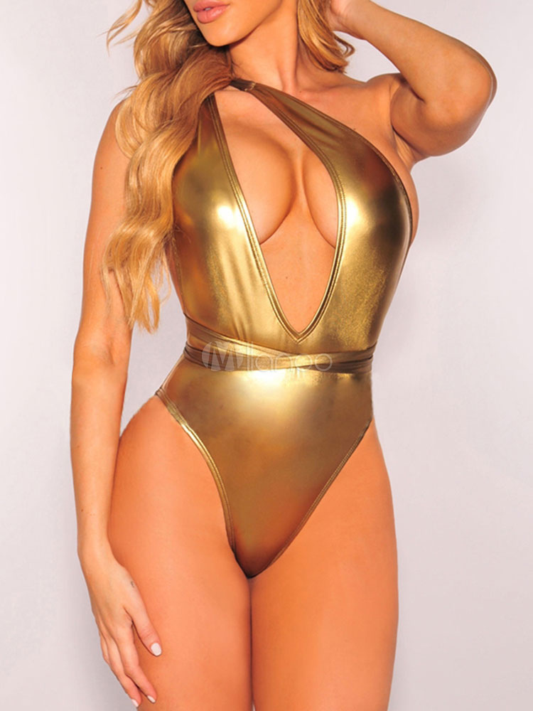 43a8d6a0ac828 ... Gold Sexy Swimsuit One Piece Metallic Multiway Beach Bathing Suit For  Women-No.3 ...