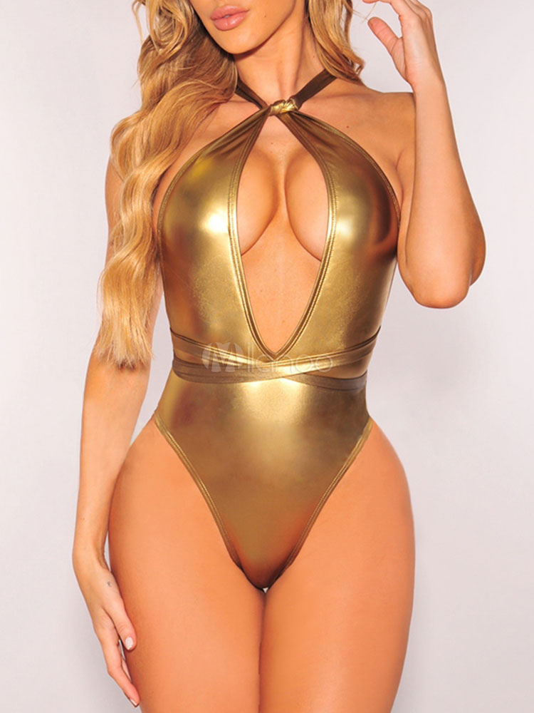 f600d0219ab42 ... Gold Sexy Swimsuit One Piece Metallic Multiway Beach Bathing Suit For  Women-No.2 ...