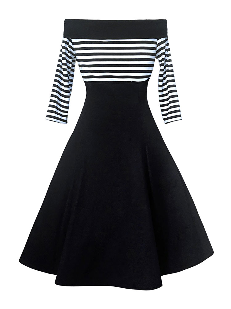 De Robe Noire Femmes Épaule Swing Hors Bouton Vintage 1950 Rayures Robes Soirée Des Années Avant eWE9YH2DI