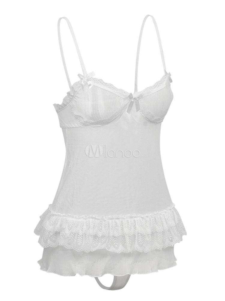 03682b0e5cb White Chemises Set 2 Piece Lace Ruffles Frills Sexy Lingerie For Women